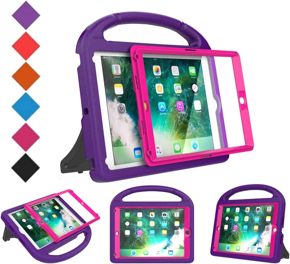 BMOUO Kids Case for New iPad 9.7 2018/2017 - Built-in Screen Protector Shockproof Light Weight Handle Convertible Stand Case for iPad 9.7 Inch 2018 (6th Gen) / 2017 (5th Gen) - Purple Rose