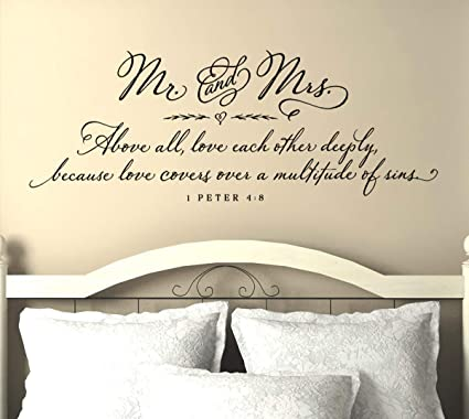 Amazon.com: Master Bedroom Wall Decor - Scripture Wall Decal - Mr ...