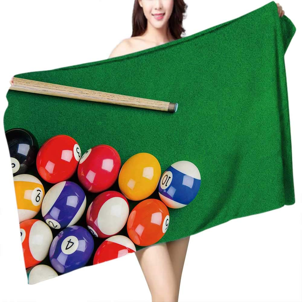 UHOO2018 Bath Towel Billiard Balls on Green Table with Billiard cue Snooker Pool Game Bathroom Towels W 27.5'' x L 55''