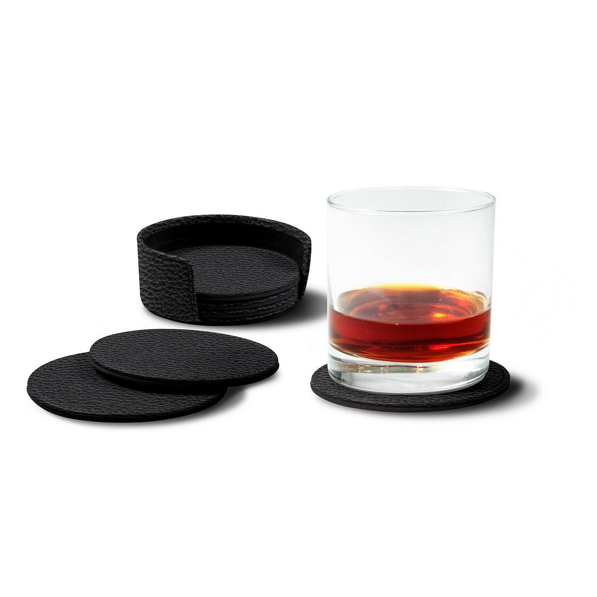 Lucrin - Set of 6 Round Real Leather Coasters with Coaster Holder - Black - Granulated Leather