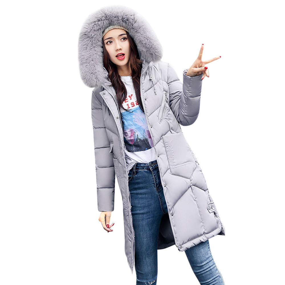 Dainzuy Ladies Sexy Casual Coats,Women's Hooded Long Cotton-Padded Jackets Pocket Outerwear Coats