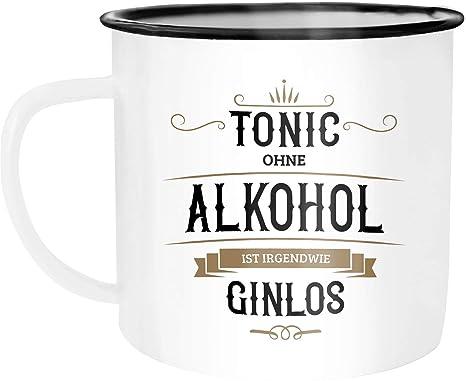 Moonworks Emaille Tasse Becher Tonic Ohne Alkohol Ist Irgendwie Ginlos Gin Kaffeetasse Dezember Weiß Schwarz Unisize