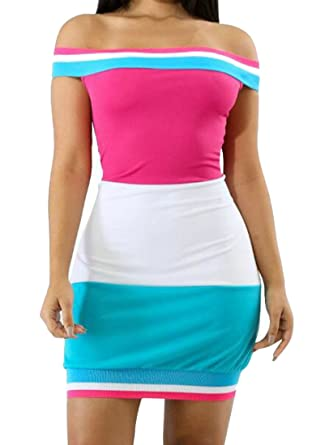 e25401e0041 Pivaconis Women s Color Block Fashion Off Shoulder Stretchy Tube Bodycon  Dress one ...