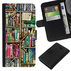 Planetar® Modelo colorido cuero carpeta tirón caso cubierta piel Holster Funda protección Para Sony Xperia M2 / M2 dual ( Reading Library Teach School )