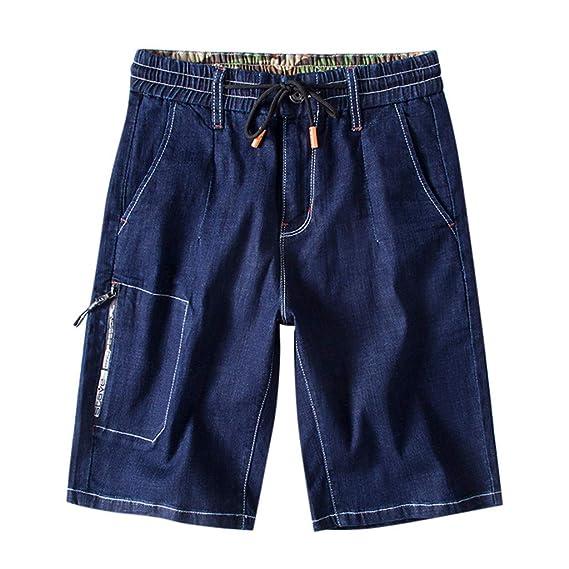 divers styles prix hot-vente plus récent Hanomes Homme Taille élastique Cinq Points en Vrac Grande Taille Short en  Jean Bermuda la Mode Casual Lace up Pantalon de Sport Shorts Jeans