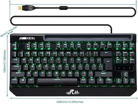 Rii K63C Teclado mecánico gaming 87 teclas Anti-Ghosting ...