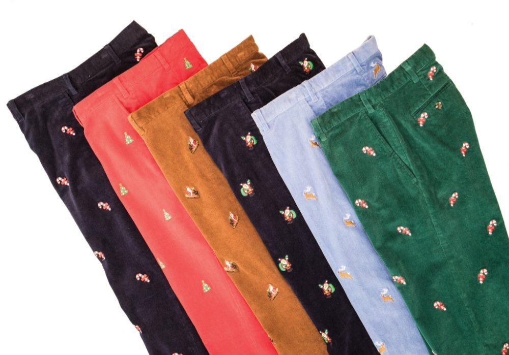 The Fine Swine Men's Castaway Embroidered Holiday Pants 40 Crimson Red With Christmas Trees by THE FINE SWINE and Castaway Clothing (Image #3)