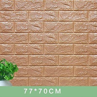 SI84ZKL 3D Wall Stickers Decorate Self Adhesive for Kids Room Bedroom Decor Foam Brick Room Decor Wallpaper Wall Sticker-Coffee-70X7.5CM: Kitchen & Dining
