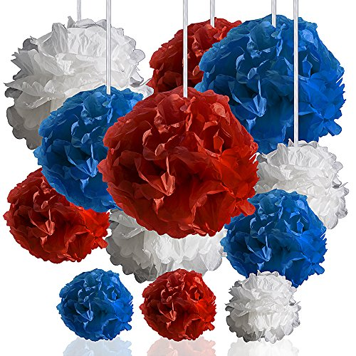 DIY Pom Poms Decoration, Hanging Tissue Paper in Red, White and Blue for your 4th of July party. 12 Pcs. 6, 8, 10 and 14 Inches. Reusable Decor for Baby Shower, Weddings, Birthday, Bachelorette party. -