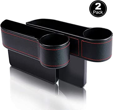Vooteen Car Seat Gap Filler 2 Packs Console Side Pocket Organizer Car Seat Catcher Between Seat Organizer Cup Holder
