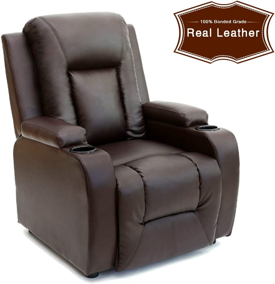 furniture uk shop Leather Recliner Cinema Armchair with Drink Holders Sofa Chair (Brown)