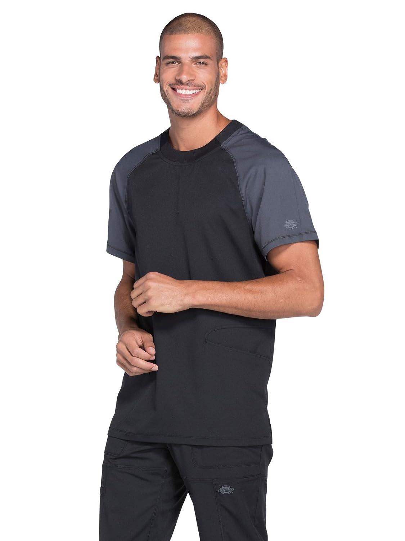 82cae19b260 Amazon.com: Dickies Dynamix DK670 Men's Crew Neck Colorblock Raglan Sleeve Scrub  Top: Clothing