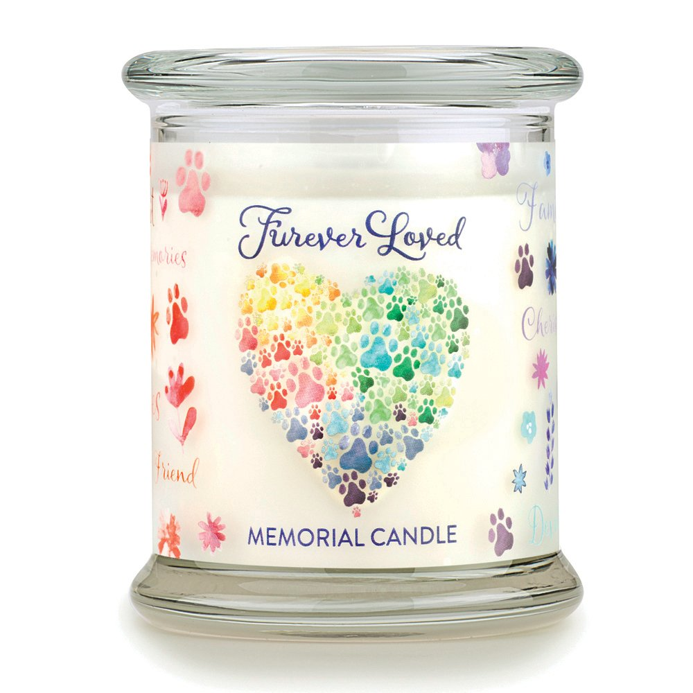 One Fur All - Pet Memorial Candle - Furever Loved Pet Eco-Friendly Natural Soy Wax Candle, Non-Toxic & Paraffin-Free Reusable Glass Jar Candle, Cat & Dog Memorial Candle, Up to 60 Hours Burn Time by One Fur All