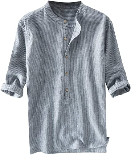 Leegor Mens Long Sleeve Casual Striped Cotton Linen Business V Neck Button Up Henley Shirts Blouse Fit Slim Top