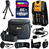 Ideal Accessory Kit for Canon Powershot SX160 IS, SX150 IS, SX130 IS, SX120 IS, SX110 IS, SX100 IS, SX20 IS, SX10 IS, SX5 IS, SX3 IS, SX2 IS, SX1 IS, A2100 IS, A2000 IS, A1400 Digital Cameras Includes 16GB High Speed Memory Card + 4 AA High Capacity 3100mA