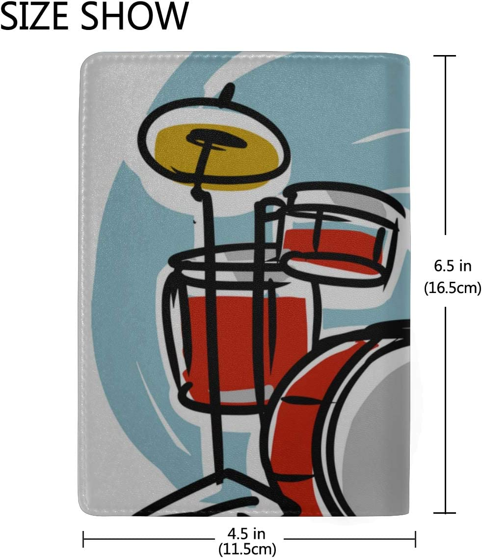 Hand Drawn Musical Drum Set Blocking Print Passport Holder Cover Case Travel Luggage Passport Wallet Card Holder Made With Leather For Men Women Kids Family