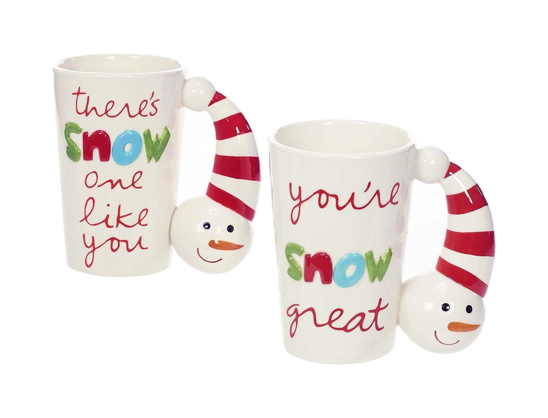 Sandra Magsamen Snowman 10 Ounce Christmas Ceramic Coffee Mugs Set of 2 Napco