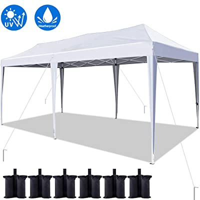 Quictent 10x20 ft Easy Pop up Canopy Tent Instant Canopy Shelter Folding Party Tent with 6 Weight Bags (White): Sports & Outdoors