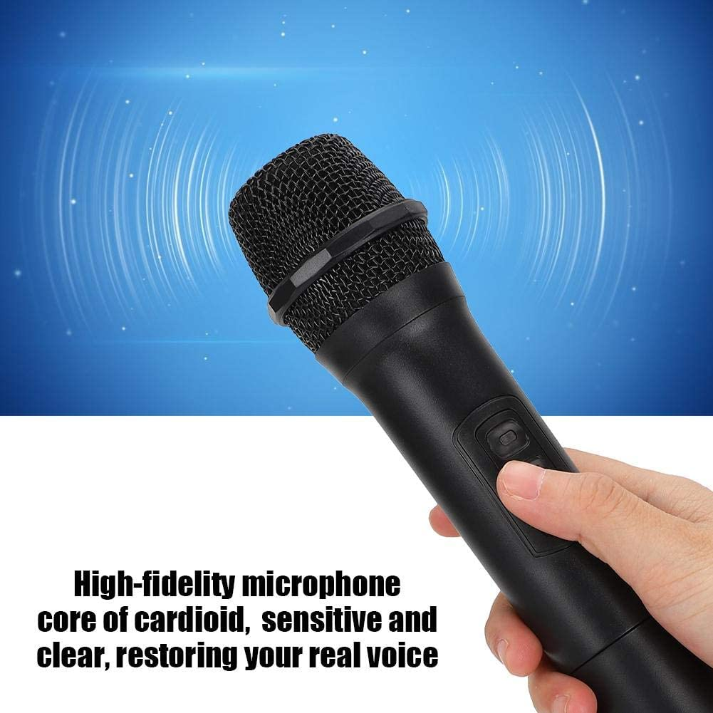 6.5mm Plug Voice Amplifier Wireless Dual Handheld Dynamic Microphone with Receiver Singing Machine 30m//98.4ft for Karaoke Wireless Microphone