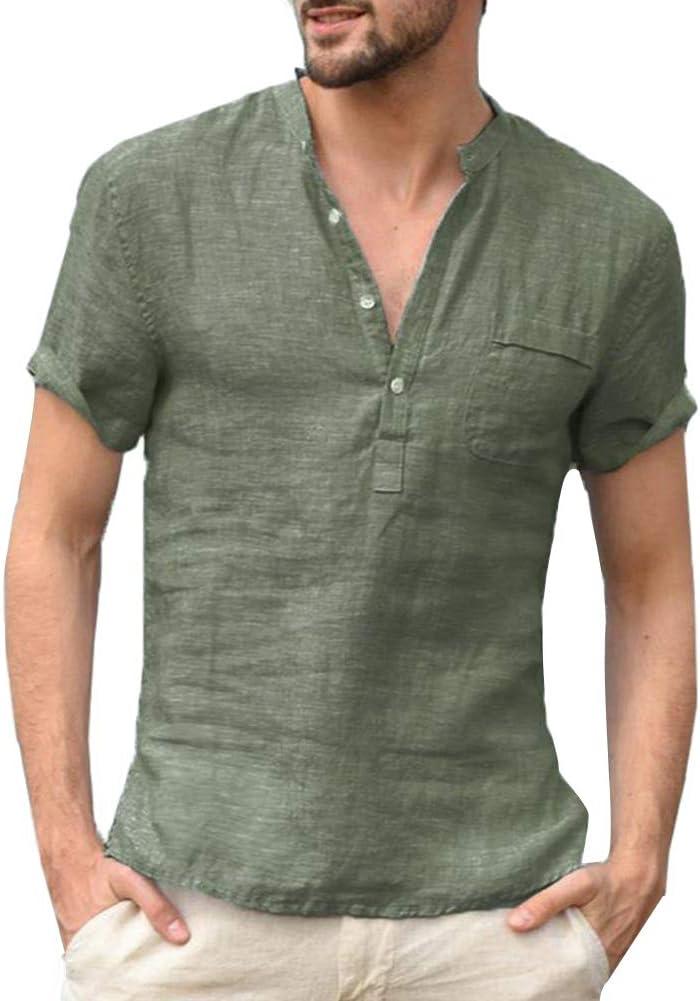 Trenton Camisetas para Hombre, Color sólido, Cuello en V, Parche de Bolsillo, Manga Corta, Playera de Verano: Amazon.es: Jardín