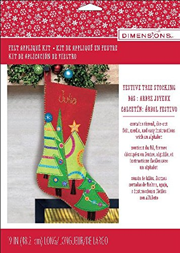 - Dimensions Festive Tree Wool Felt Christmas Stocking Kit, 19''