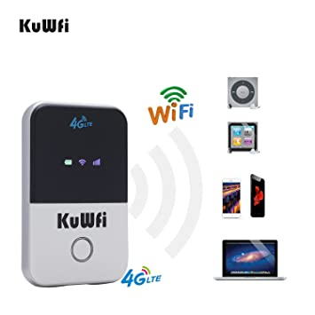 KuWFi Travel Partner inalámbrico Pocket 150Mbps 4G WiFi enrutador 100Mbps USB 4G módem con Tarjeta SIM Mini Mobile Hotspot Portable LTE Router