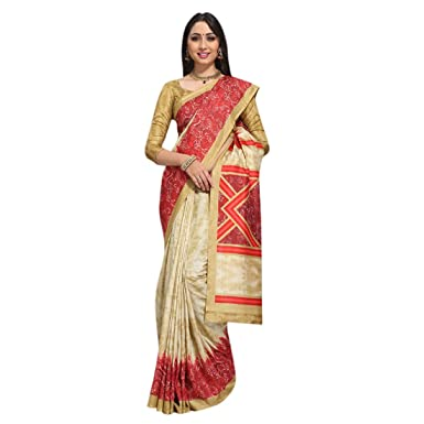 GLE Women's Italian Silk Saree With Blouse (CRACKLE 5_Multi