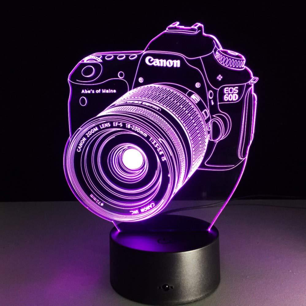 Appareil photo Canon 3D LED Veilleuse LED Acrylique Color/é Lumi/ère Hologramme Table Lampe Enfant Atmosph/ère Usb LED Lumi/ère Mignon Lumi/ère Lampe dillusion Optique Veilleuse