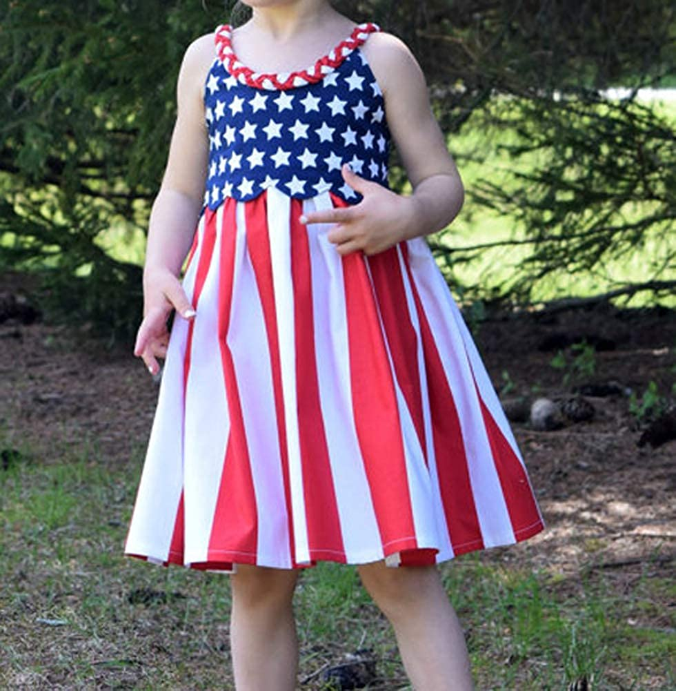 rechange Toddler Kid Baby Girl 4th of July Independence Day American Flag Stars Stripes Spaghetti Strap Dress
