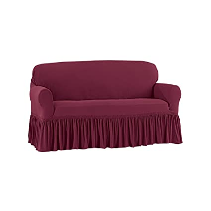 Sensational Ruffle Stretch Stain Resistant Slipcover Furniture Cover Protector Wine Loveseat Pdpeps Interior Chair Design Pdpepsorg
