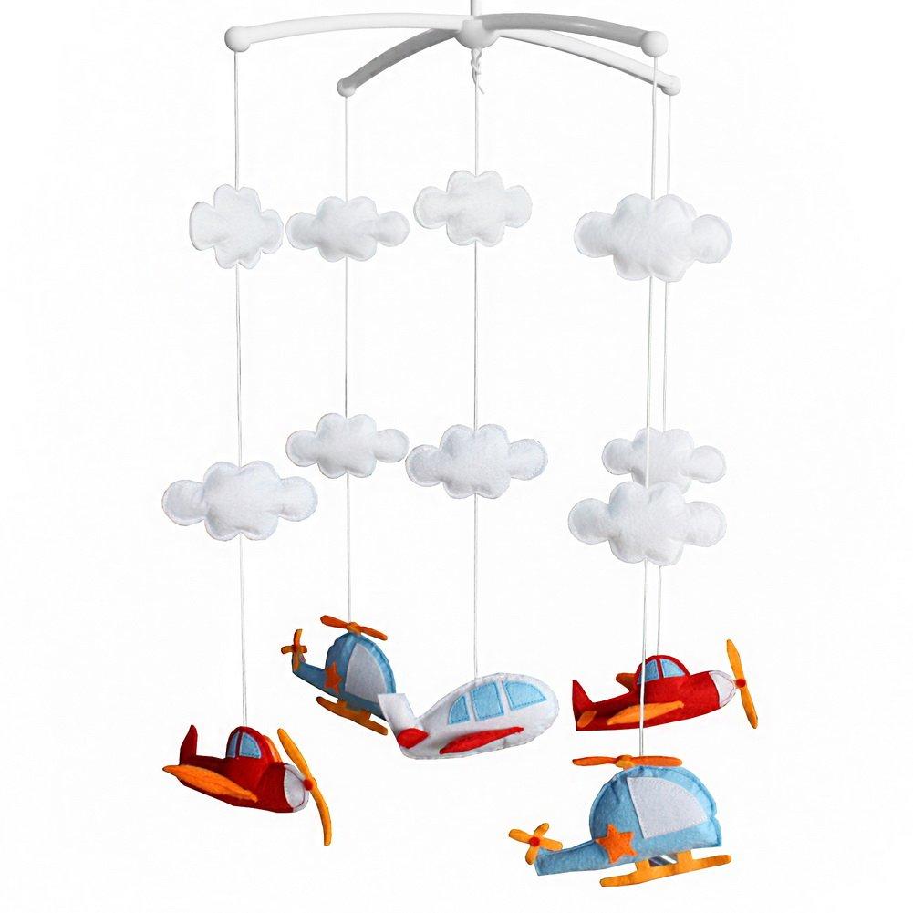 Belle avions rotation musicale lit mobile bébé cloche suspendue Blancho Bedding
