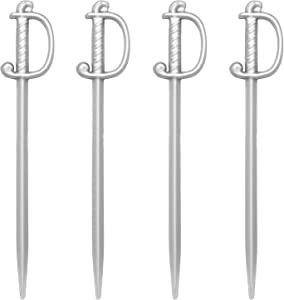 "Silver Sword Picks, 50 Plastic Cocktail & Food Toothpicks, 3"" Soodhalter Regal Swords,"