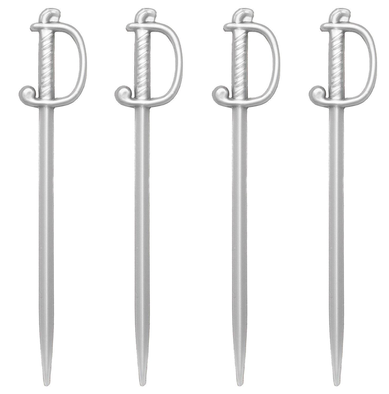 Silver Sword Picks, 50 Plastic Cocktail & Food Toothpicks, 3'' Soodhalter Regal Swords,