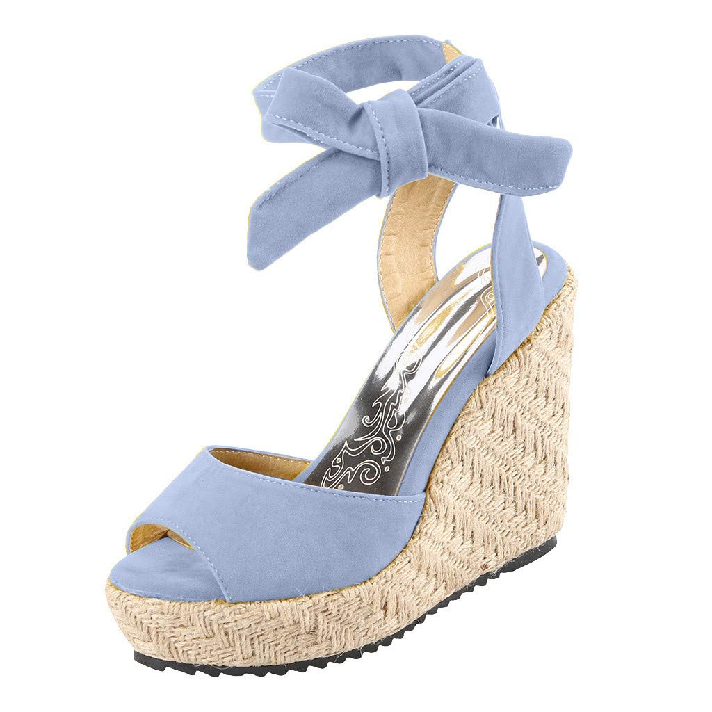 Womens Lace up Platform Wedges Sandals Classic Open Toe Ankle Strap Shoes Espadrille Sandals Blue