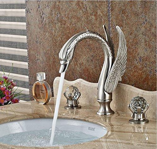 GOWE Brushed Nickel Deck Mount Bathroom Basin Sink Faucet Dual Handle 3 Holes Hot Cold Mixer Taps 1