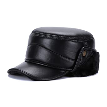 4b426c2e6d7 Sandy Ting Men Winter Leather Solid Hat With Fold-Down Ear Flaps Cap at Amazon  Men s Clothing store