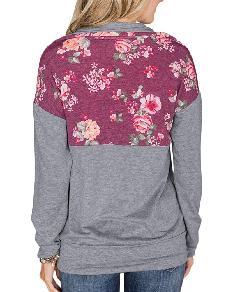 Moxeay Womens Long Sleeve 1//4 Zipper Floral Splicing Sweatshirt Tops