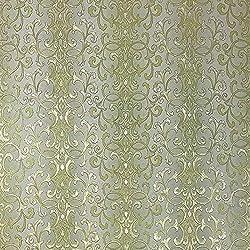 QUADRUPLE ROLL 113.52sq.ft (4 single rolls size) embossed Slavyanski wallcovering washable victorian pattern Vinyl Non-Woven Wallpaper green gold textured stripe wall decor glitters metallic 3D damask