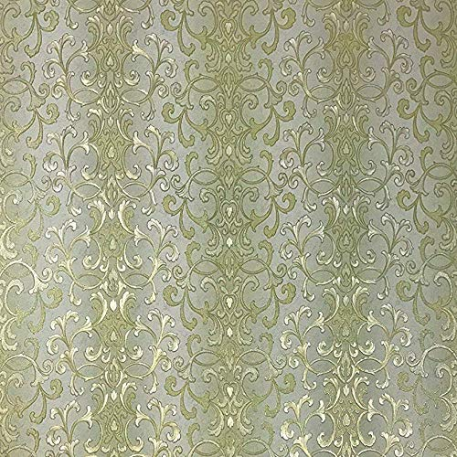 QUADRUPLE ROLL 113.52sq.ft (4 single rolls size) embossed Slavyanski wallcovering washable victorian pattern Vinyl Non-Woven Wallpaper green gold textured stripe wall decor glitters metallic 3D damask