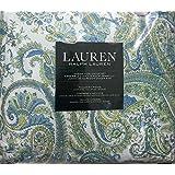 Ralph Lauren green blue paisley queen comforter set 4 pieces cotton