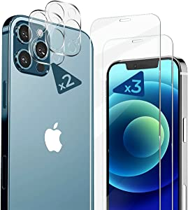 Screen Protector 6.7 Inch for iPhone 12 Pro Max, 3 Piece Tempered Glass and Camera Lens Protection Kit – 2.5D Edge, Scratch Resistant 9H Hardness with Anti-Fingerprint Hydrophobic Coating