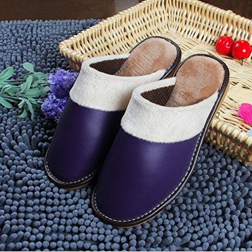 Pantofole Samsay Unisex In Pelle Morbida Peluche Scarpe Viola