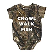 Crawl Walk Fish Realtree Camo Baby Body Suit - Hunting Baby Clothing (18 Month)