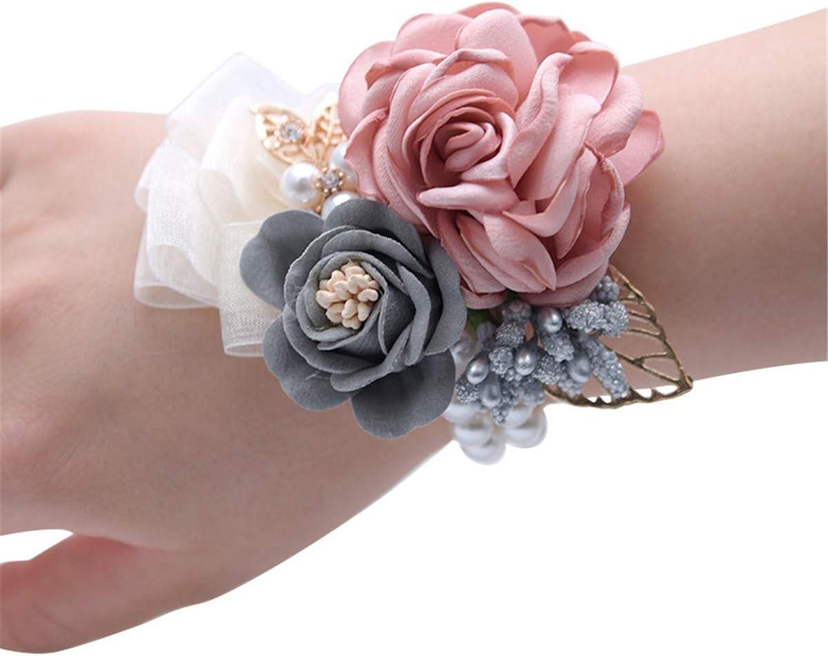 Juego con pulsera ramillete de rosas y de diamante con cinta flor baile de boda (Rosa)