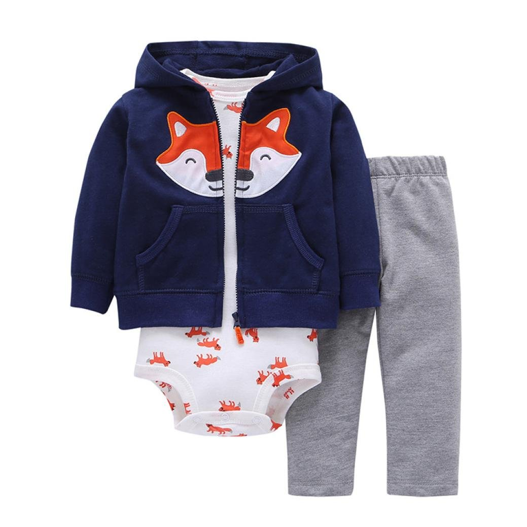 KONFA Toddler Baby Girls Boys Cartoon Fox Print Hoodie+Romper+Pants,Suitable For 0-24 Months,3Pcs Outfits Set