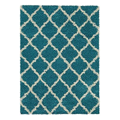 """Ottomanson Ultimate Shaggy Collection Moroccan Trellis Design Shag Rug Contemporary Bedroom and Living room Soft Shag Rugs, Orange, 3'3"""" L X 4'7"""" W"""