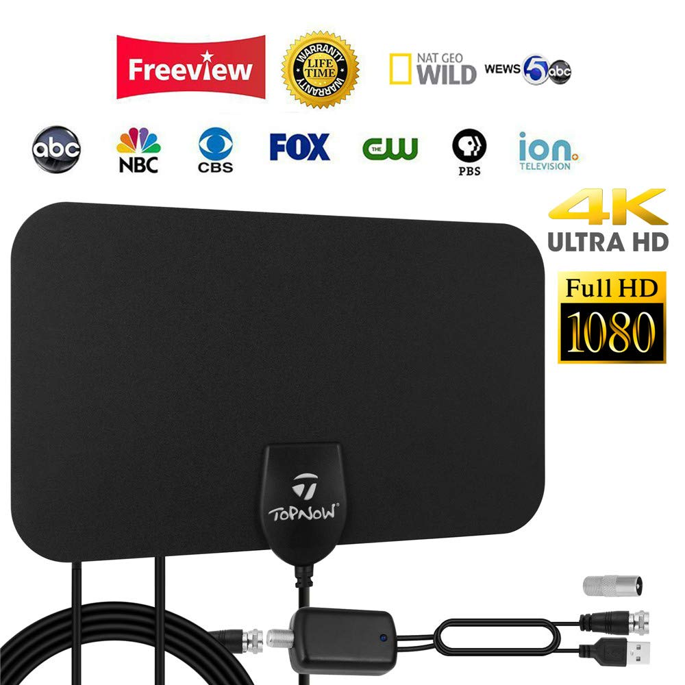 HDTV Antenna, Indoor Amplified HD Digital TV Antenna 120 Miles Range Support 4K 1080p and All TVs with Detachable Amplifier - 13ft Longer Coax Cable - Black by Topnow
