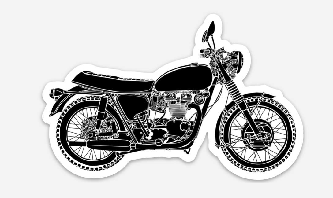 BellavanceInk Vintage Triumph British Motorcycle Vinyl Sticker Illustration