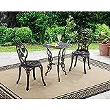 3 Piece Patio Set Dining Bistro Garden Conversation Round Table 2 Chairs