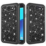 Galaxy J7 2017 Case, Lisuixi Bling Glitter Sparkle Case Full-Body Protection [Silicone+Hard PC Back] 2in1 Hybrid Dual Layer Shockproof Non-Slip Cover for Samsung Galaxy J7 Perx/J7V/J7 Sky Pro Black